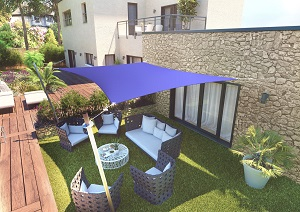 Voile d'ombrage rectangle bleue